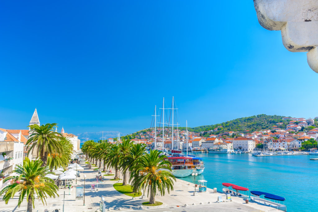 Aerial view on town Trogir and city promenade, Croatia Europe. / Town Trogir aerial promenade.